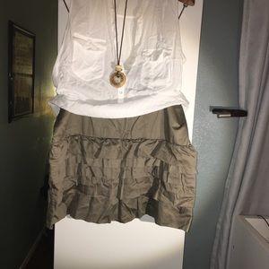 Army Green Ruffle Cotton Skirt